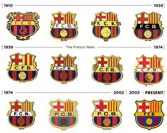 FC Barcelona logos throughout history #fcbarcelona Fc Barcelona, Barcelona Badge, Barcelona Futbol Club, Barcelona Football, Soccer World, World Football, Sports Clubs, Ticket, Leonel Messi
