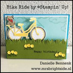 Pull Tab Slider Card Project I made with Bike Ride stamp set for Main Stage presentation during On Stage Live - Danielle Bennenk www.mrsbrightside.nl