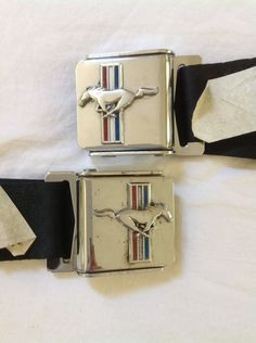 Ford Mustang Pony Running Horse Tri Bar Chrome Black Lap Seat Belts Set #Ford #Mustang