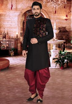 Readymade Art Silk and Velvet Sherwani in Black This Collar Neck and Full Sleeve attire is Allured with Button and Floral Print Available with a Cotton Silk Dhoti Pant in Maroon Do note Footwear shown - Sherwani For Men Wedding, Wedding Dresses Men Indian, Groom Wedding Dress, Sherwani Groom, Punjabi Wedding, Wedding Outfits, Indian Men Fashion, Mens Fashion Wear, Men's Fashion