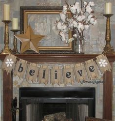 Christmas Banner BELIEVE with White Snowflakes by ThrownTogether, $53.00                                                                                                                                                                                 More