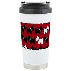 CafePress - Scottie Dogs Red - Stainless Steel Travel Mug, Insulated 16 oz. Coffee Tumbler * For more information, visit image link.