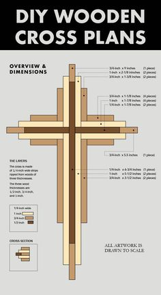 I just uploaded plans for the 9-inch version of my layered cross.⠀ The downloadable plans include a wood selection guide, tool recommendations, video footage, and a 3D Sketchup file, they will tell you everything you need to know to build this cross. #woodworkingideas #woodworkingprojects