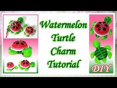 Kawaii Watermelon Turtle polymer clay charm tutorial