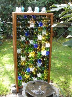Wine Craft, Wine Bottle Crafts, Bottle Art, Wine Bottle Fence, Wine Bottle Fountain, Garden Fence Art, Garden Privacy, Backyard Privacy, Pool Fence