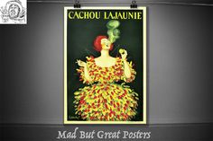 Cachou La jaunie, Leonetto Cappiello 1920, smoking poster, smoking gifts, print, french vintage, art deco, candy print, candy poster, decor by MadButGreatPosters on Etsy French Vintage, Vintage Art, Vintage Posters, Smoking, Art Deco, Candy, Gifts, Painting, Etsy