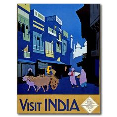 Visit India Vintage Travel Art Post Card #postcards