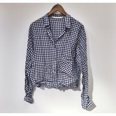 Zara | blue gingham button down top Size medium. Good condition.  No trades. Zara Tops Button Down Shirts