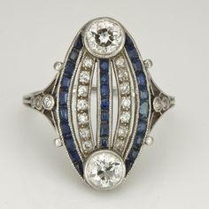 Art Deco Circa 1920 18kt w G 1 10ctw Diamond Sapphire Cocktail Ring vintage jewelry x