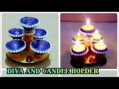 DIYA AND CANDLE HOLDER CRAFT/FROM NEWSPAPER/DIWALI SPECIAL - YouTube