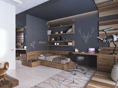 Teenage room in a modern style - photo 1 Boys Bedroom Decor, Cozy Bedroom, Bedroom Furniture, Trendy Bedroom, Bedroom Ideas, Kid Furniture, Bedroom Themes, Plywood Furniture, Bedroom Designs