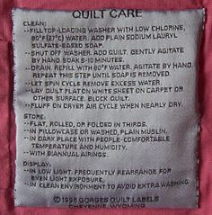 Gorges Quilt Labels and information on how to care and wash quilts