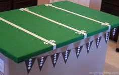 Quick And Easy DIY Football Party Ideas: DIY Football Field Table Cover