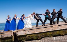 Lazzat Photography   North West Seattle-Tacoma Beach Wedding   Baby Blue Seashells Corrals   Wedding Bridal Party Summer Outdoor Session  Mukilteo Lighthouse tug of war fun humor