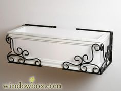 Shop Wrought Iron Planter Boxes in varied styles plus options for metal window box liners. Metal window flower boxes are a charming way to bring plant life to your home's exterior. Wrought Iron Window Boxes, Window Box Brackets, Metal Window Boxes, Window Box Flowers, Wrought Iron Decor, Window Planter Boxes, Flower Boxes, Succulents In Containers, Container Flowers