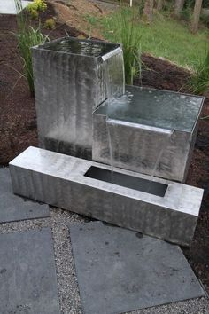 Get creative with some galvanized steel and make your own fun boxy fountains for your garden This is a neat way to add color and water to your yard for a feature nobody e.