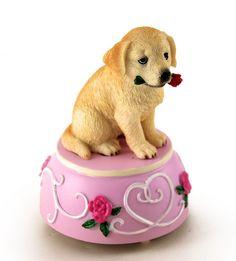 Golden Retriever with Rose Musical Figurine