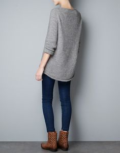 comfy knits, skinny jeans, boots