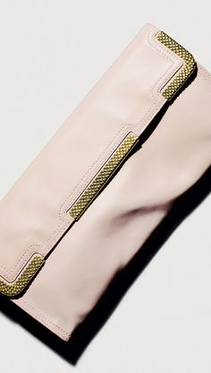 Bottega Veneta Petale Waxed Leather Gold Metal Clutch #BottegaVenetaColors
