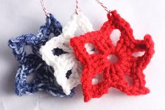 red, white and  blue crocheted Christmas ornament stars
