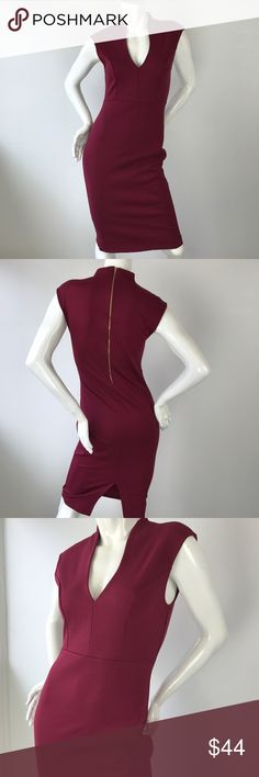 Burgundy Body-con Dress - Best Seller! Our best selling dress in regular and plus size. This burgundy sleeveless bodycon dress features v-cut neckline, exposed back zipper, and center back slit. Length falls below the knee. Nice thick stretch material. 65% rayon, 30% nylon, 5% spandex. Also available in pink, navy, and burgundy. Plus size is in black and burgundy. Pair it with one of our blazers for your work attire. Check our other listings for more blazers and dresses! NOTE: Use size chart…