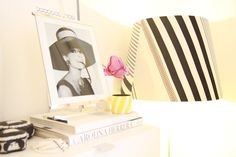 Black & White & Pink Bedroom - details. Pic of Jackie though