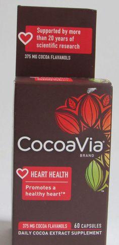 CocoaVia Heart Health Cocoa Flavanols 60 capsules Exp 5/2018 Sealed #CocoaVia