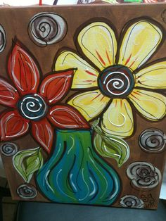 """""""Crazy Dasies"""" Diy Canvas, Acrylic Painting Canvas, Canvas Artwork, Fabric Painting, Diy Painting, Canvas Ideas, Paint And Drink, Paint Your Own Pottery, Summer Painting"""