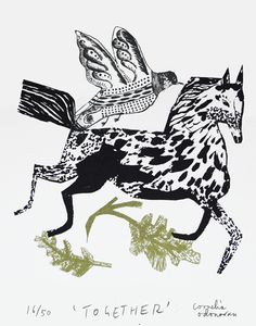 cornelia o'donovan, ink drawing, horse, bird, texture, nature, pattern, illustration, print, design
