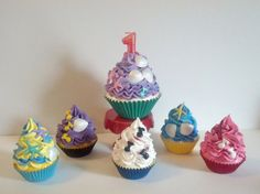 Little Mermaid Inspired Fake Cupcakes Photo Props for First Birthday Pictures Party Decorations, 1 Jumbo and 5 Standard Size Sea Theme Decor on Etsy, $78.00