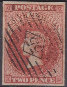 South Australia 1856 Used 2d Blood Red SG8 Cat £60 4 LARGE MARGINS