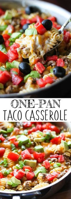 Looking for easy to make one-pot meals? This One-Pan Taco Casserole will be your new favorite. The pasta and ground beef is simmered in a flavorful broth seasoned with tomatoes, chili powder and cumin, and topped with melty cheese, fresh tomatoes and avoc
