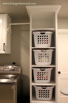 Laundry Room Organizing Ideas: Tall Tower Shelves perfect size for laundry baskets. One basket for each family member, easy to fold and sort straight out of the dryer!