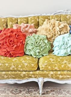 Colorful striped DIY felt flower pillow on sofa - home decor, flower pillow