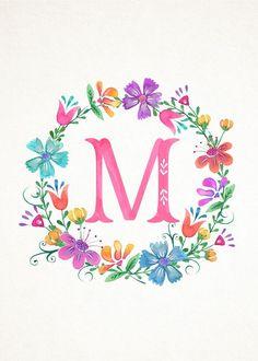 M Floral Wreath Monograms (The Cottage Market) Monogram Wallpaper, Alphabet Wallpaper, Cute Wallpapers, Wallpaper Backgrounds, Iphone Wallpaper, Alphabet Art, Letter Art, Monogram Wreath, Monogram Letters