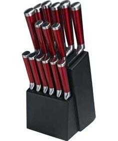 Premier 15 Piece Translucent Knife Set - Red.