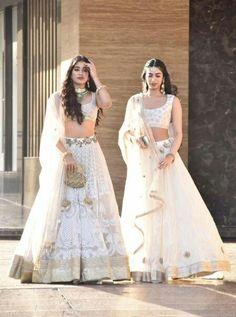 Sisters Jhanvi and Khushi Kapoor Indian Wedding Outfits, Indian Outfits, Indian Clothes, Indian Designer Outfits, Designer Dresses, Lehnga Dress, Indian Bridal Lehenga, Bridal Dresses, Bridal Outfits