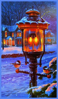 A pair of chickadees find warmth under a nostalgic street lamp on a cold winter evening. Black-capped chickadees do not migrate and are found mainly in Alaska, Canada, and the Northern U. Christmas Scenes, Christmas Art, Beautiful Christmas, Winter Christmas, Winter Szenen, Winter Magic, Winter Pictures, Christmas Pictures, Snow Scenes