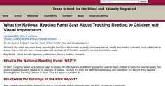 What the National Reading Panel Says About Teaching Reading to Children with Visual Impairments
