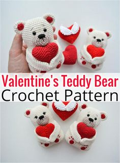 Glorious Crochet Teddy Bear Easy Free Patterns - Diy And Crafts Animal Knitting Patterns, Easter Crochet Patterns, Crochet Amigurumi Free Patterns, Stuffed Animal Patterns, Free Crochet, Diy Crochet Toys, Crochet Animals, Crochet Teddy Bear Pattern, Bear Valentines