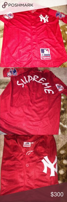 Supreme x 47 Brand New York Yankees Mesh baseball Supreme x 47 Brand New York NY Yankees Mesh baseball jersey. Large . Dead stock . Buy them off me. Supreme Other