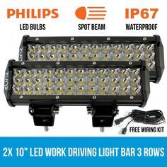 These 2 LED Light Bar has a spot, lumen output of waterproof and new ultra low amp draw give maximum lifespan and value for cash. Waterproof Led Lights, Heavy Machinery, High Beam, Extruded Aluminum, Led Light Bars, Extreme Weather, Bar Lighting, Offroad, Beams