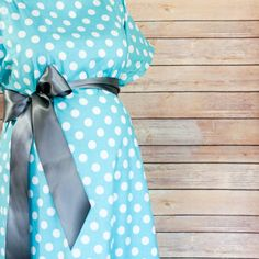 ON SALE - Aqua Polka Dot Maternity Delivery Gown, Robe, Headband, and Burp Pad Bundle - Set to make your delivery Picture Perfect!