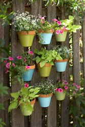 """outdoor, adjustable flower pot """"hangers"""" for fencing--great for decorating what feels like endless vertical space in my small garden. Inexpensive and height makes them puppy-proof!"""