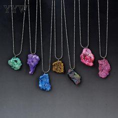 1b5601e31 Encontrar Más Collares pendientes Información acerca de Vintage Piedra  Natural collares pendientes cristal piedra bola collar