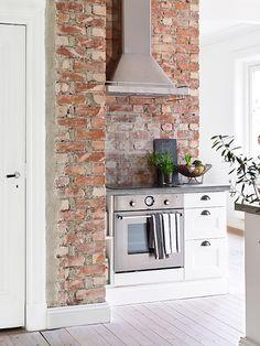exposed brick wall in the kitchen interior Brick Wall Kitchen, Kitchen Decor, Kitchen Ideas, Kitchen Soffit, Kitchen Nook, Kitchen Inspiration, Kitchen Island, Küchen Design, House Design