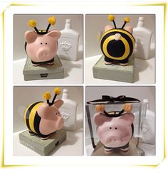 Service project donations Art For Kids, Crafts For Kids, Pig Bank, Personalized Piggy Bank, Paper Mache Clay, Biscuit, Creation Crafts, Bee Party, Art N Craft