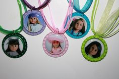 5 American Girl Doll Bottle Cap Necklaces with extra by bitty06, $12.00
