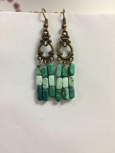 Green turquoise boho style earrings by EcclecticSouls on Etsy