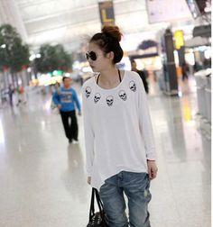 White Simple Round Neck Korean Fashionable Blouse with Skulls Print 1